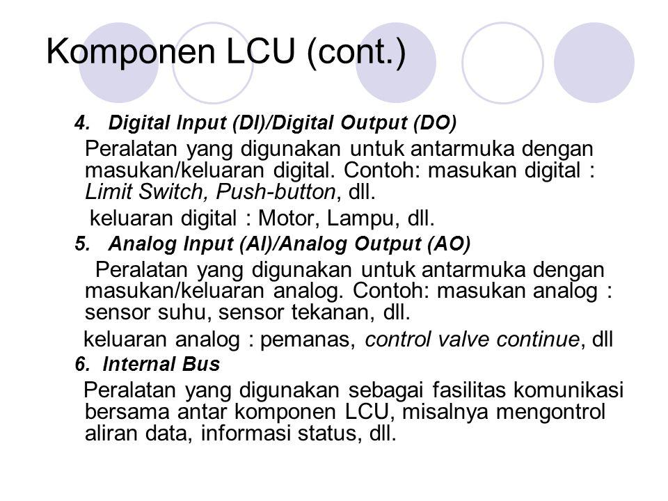 Komponen LCU (cont.) 4. Digital Input (DI)/Digital Output (DO) Peralatan yang digunakan untuk antarmuka dengan masukan/keluaran digital. Contoh: masuk