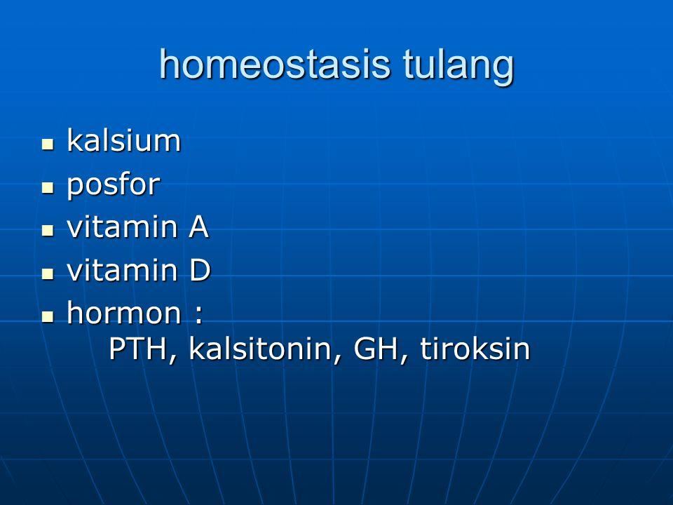 homeostasis tulang kalsium kalsium posfor posfor vitamin A vitamin A vitamin D vitamin D hormon : PTH, kalsitonin, GH, tiroksin hormon : PTH, kalsiton