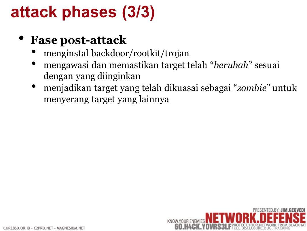 Fase post-attack menginstal backdoor/rootkit/trojan mengawasi dan memastikan target telah berubah sesuai dengan yang diinginkan menjadikan target yang telah dikuasai sebagai zombie untuk menyerang target yang lainnya attack phases (3/3)