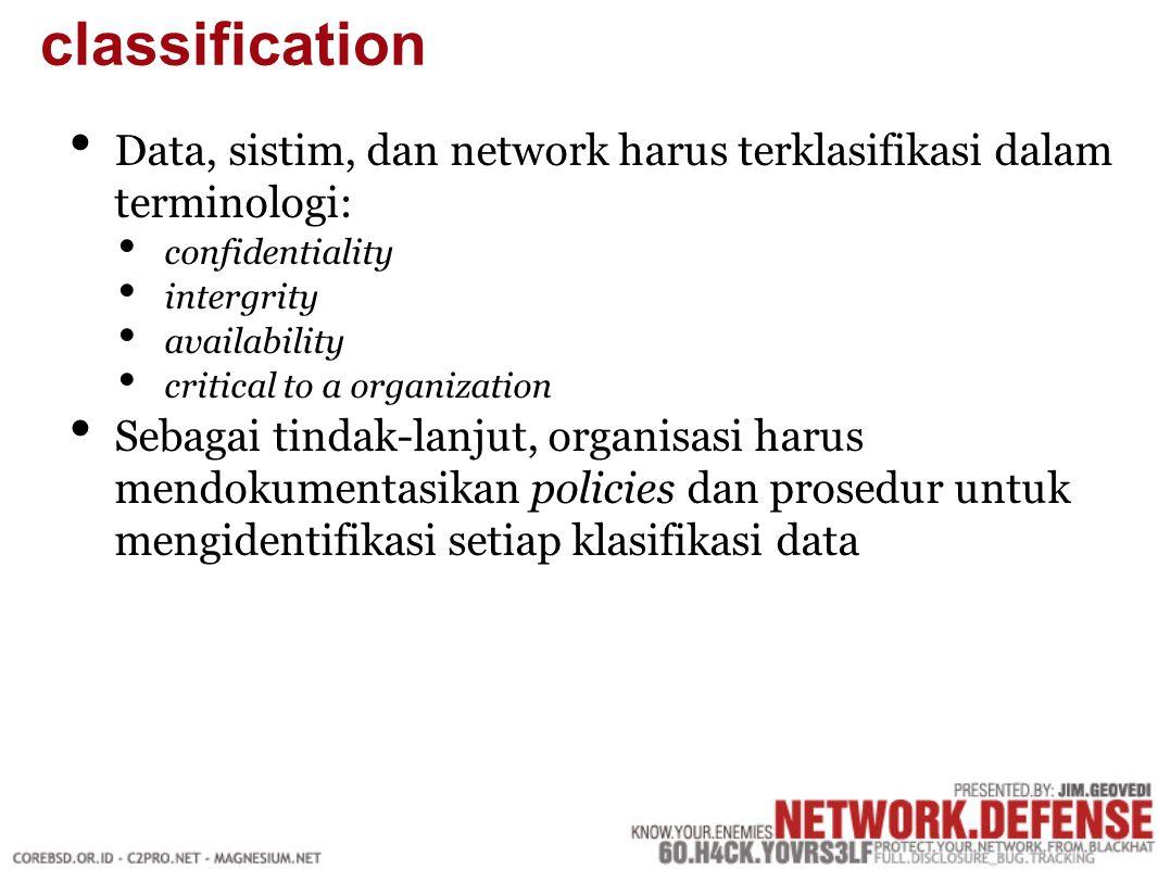 Data, sistim, dan network harus terklasifikasi dalam terminologi: confidentiality intergrity availability critical to a organization Sebagai tindak-lanjut, organisasi harus mendokumentasikan policies dan prosedur untuk mengidentifikasi setiap klasifikasi data classification