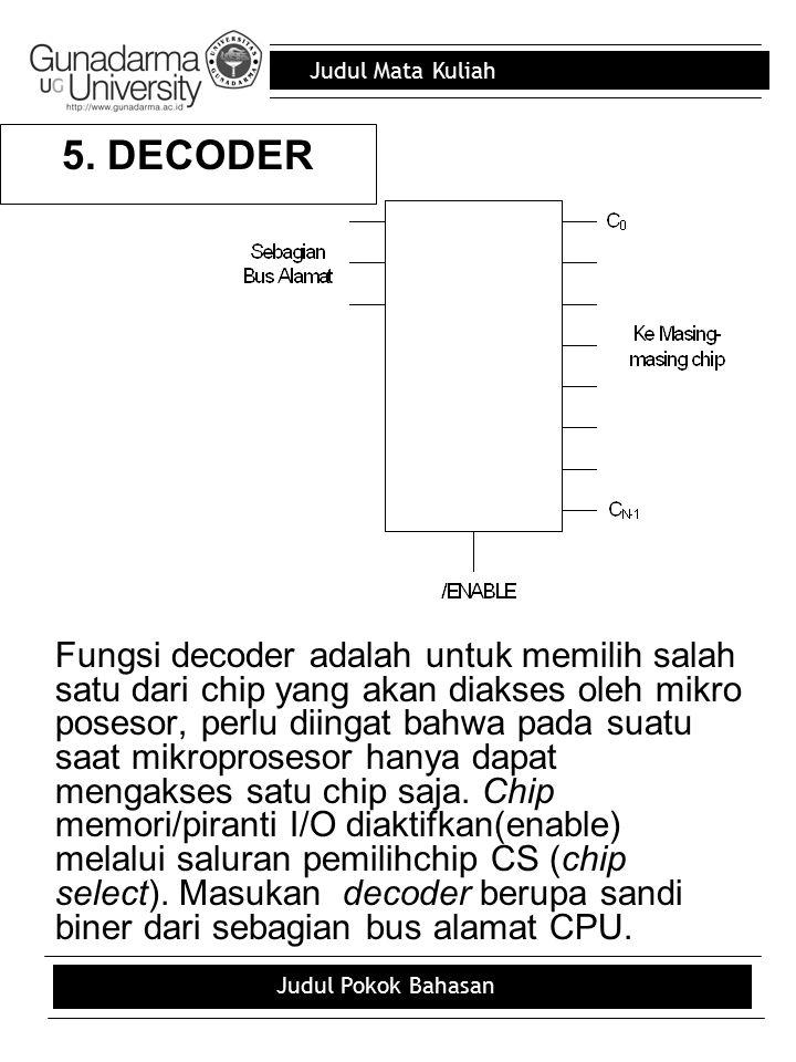 Judul Mata Kuliah Judul Pokok Bahasan 5. DECODER Fungsi decoder adalah untuk memilih salah satu dari chip yang akan diakses oleh mikro posesor, perlu