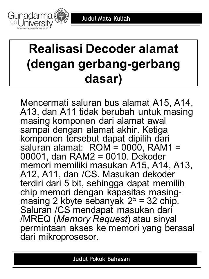 Judul Mata Kuliah Judul Pokok Bahasan Realisasi Decoder alamat (dengan gerbang-gerbang dasar) Mencermati saluran bus alamat A15, A14, A13, dan A11 tid