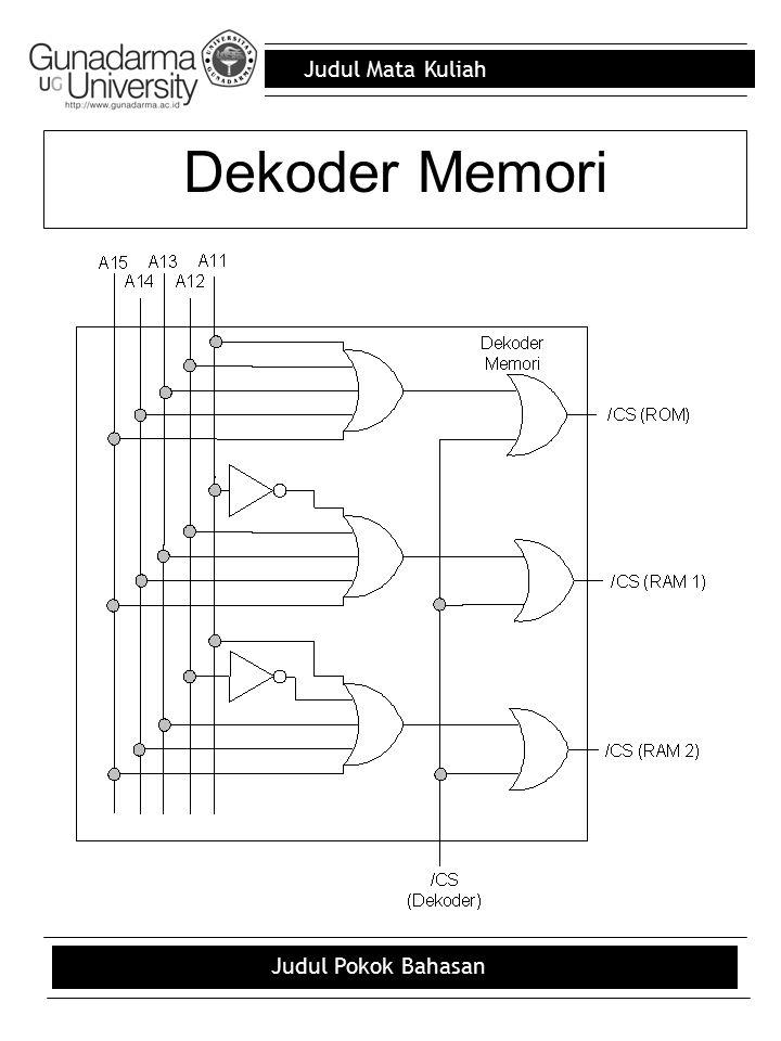Judul Mata Kuliah Judul Pokok Bahasan Dekoder Memori
