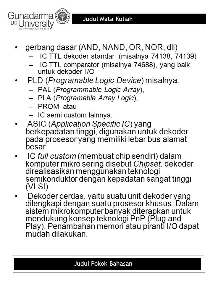 Judul Mata Kuliah Judul Pokok Bahasan gerbang dasar (AND, NAND, OR, NOR, dll) – IC TTL dekoder standar (misalnya 74138, 74139) – IC TTL comparator (mi