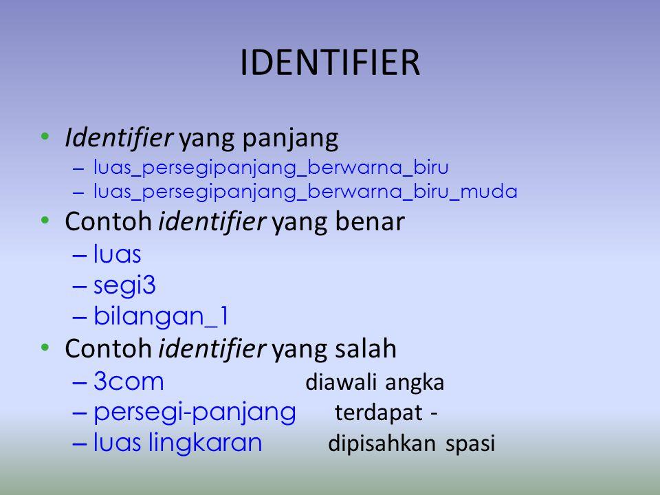 IDENTIFIER Identifier yang panjang – luas_persegipanjang_berwarna_biru – luas_persegipanjang_berwarna_biru_muda Contoh identifier yang benar – luas – segi3 – bilangan_1 Contoh identifier yang salah – 3com diawali angka – persegi-panjang terdapat - – luas lingkaran dipisahkan spasi