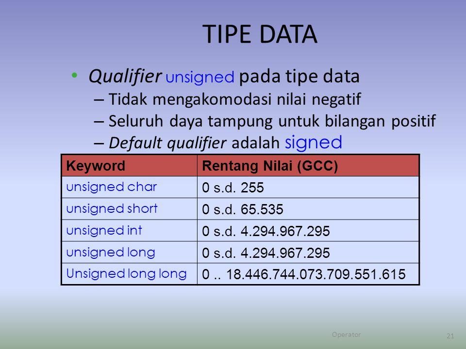 Operator 21 TIPE DATA Qualifier unsigned pada tipe data – Tidak mengakomodasi nilai negatif – Seluruh daya tampung untuk bilangan positif – Default qualifier adalah signed KeywordRentang Nilai (GCC) unsigned char 0 s.d.