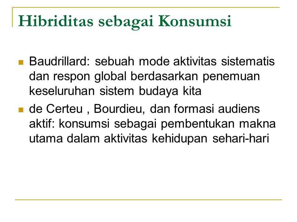 Hibriditas sebagai Konsumsi Baudrillard: sebuah mode aktivitas sistematis dan respon global berdasarkan penemuan keseluruhan sistem budaya kita de Certeu, Bourdieu, dan formasi audiens aktif: konsumsi sebagai pembentukan makna utama dalam aktivitas kehidupan sehari-hari