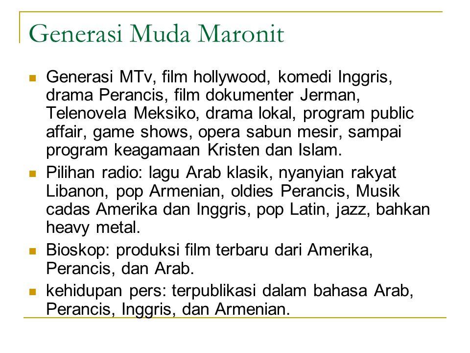 Generasi Muda Maronit Generasi MTv, film hollywood, komedi Inggris, drama Perancis, film dokumenter Jerman, Telenovela Meksiko, drama lokal, program public affair, game shows, opera sabun mesir, sampai program keagamaan Kristen dan Islam.