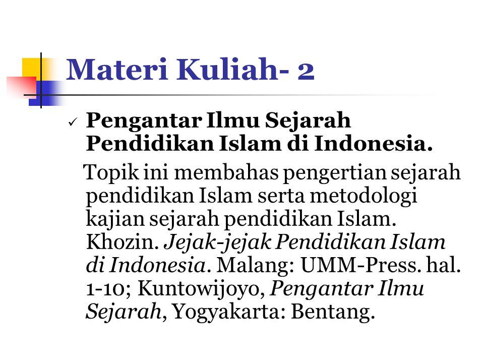 Materi Kuliah- 2 Pengantar Ilmu Sejarah Pendidikan Islam di Indonesia.