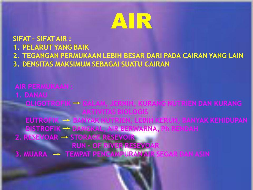 AIR SIFAT – SIFAT AIR : 1.PELARUT YANG BAIK 2.TEGANGAN PERMUKAAN LEBIH BESAR DARI PADA CAIRAN YANG LAIN 3.DENSITAS MAKSIMUM SEBAGAI SUATU CAIRAN AIR P
