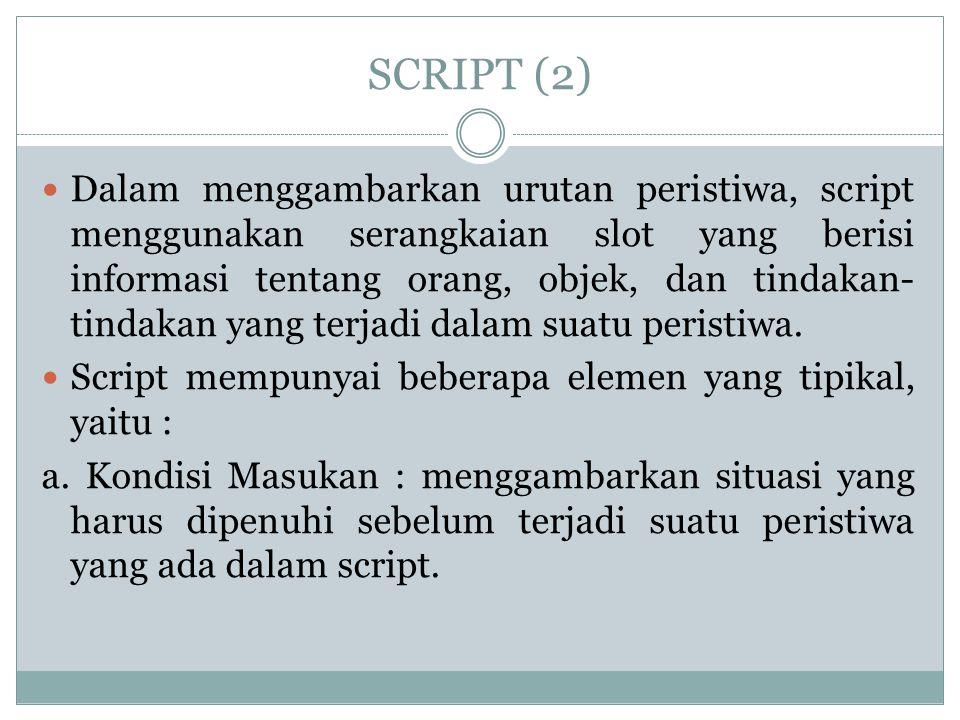 SCRIPT (3) b.Prop : mengacu pada objek yang digunakan dalam urutan peristiwa yang terjadi.