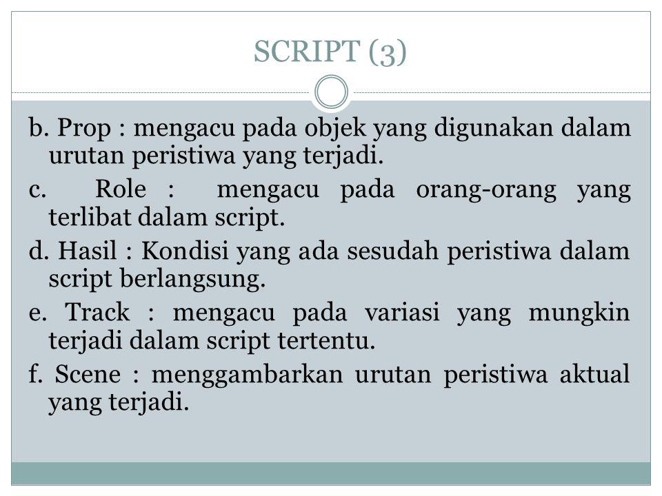 SCRIPT (3) b. Prop : mengacu pada objek yang digunakan dalam urutan peristiwa yang terjadi.
