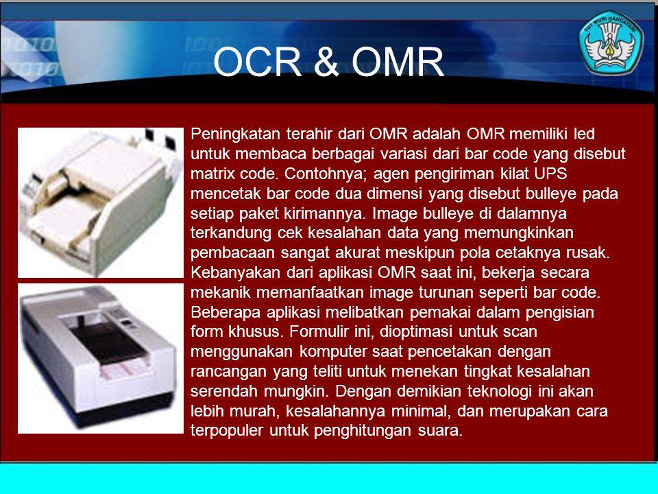 OCR & OMR Optical Mark Recognition adalah metoda komputer untuk membaca data dari formulir.