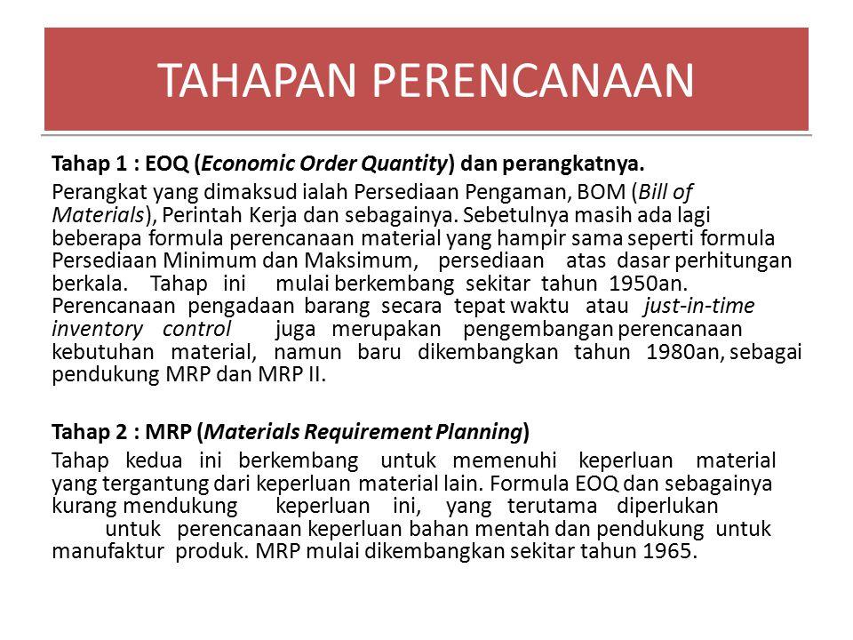 Tahap 1 : EOQ (Economic Order Quantity) dan perangkatnya. Perangkat yang dimaksud ialah Persediaan Pengaman, BOM (Bill of Materials), Perintah Kerja d