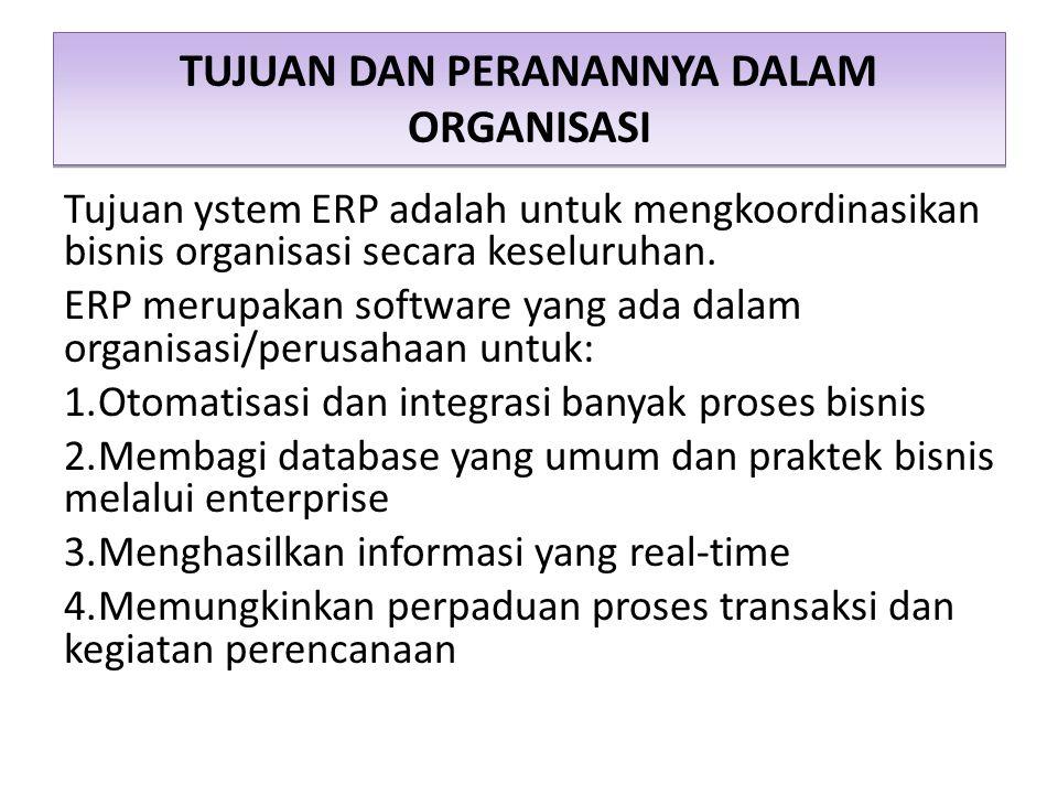 TUJUAN DAN PERANANNYA DALAM ORGANISASI Tujuan ystem ERP adalah untuk mengkoordinasikan bisnis organisasi secara keseluruhan. ERP merupakan software ya