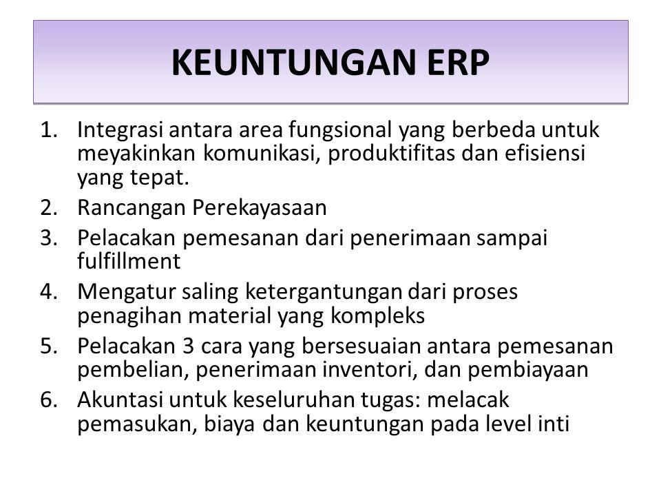 KEUNTUNGAN ERP 1.Integrasi antara area fungsional yang berbeda untuk meyakinkan komunikasi, produktifitas dan efisiensi yang tepat. 2.Rancangan Pereka