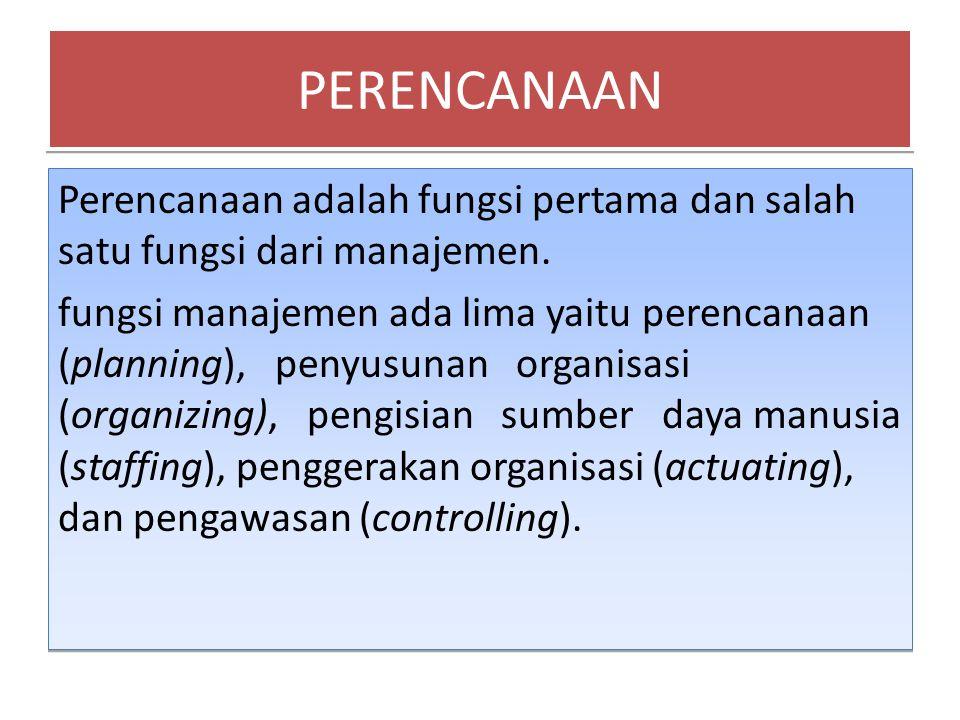PERENCANAAN Perencanaan adalah fungsi pertama dan salah satu fungsi dari manajemen. fungsi manajemen ada lima yaitu perencanaan (planning), penyusunan