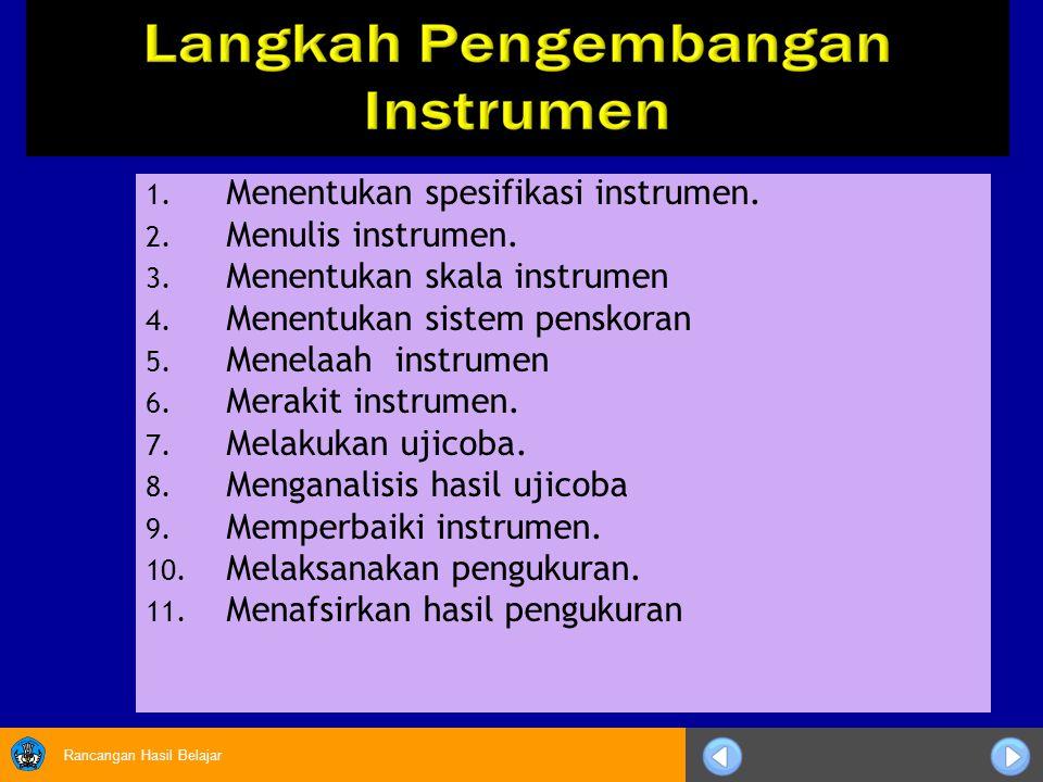 Rancangan Hasil Belajar 1. Menentukan spesifikasi instrumen. 2. Menulis instrumen. 3. Menentukan skala instrumen 4. Menentukan sistem penskoran 5. Men