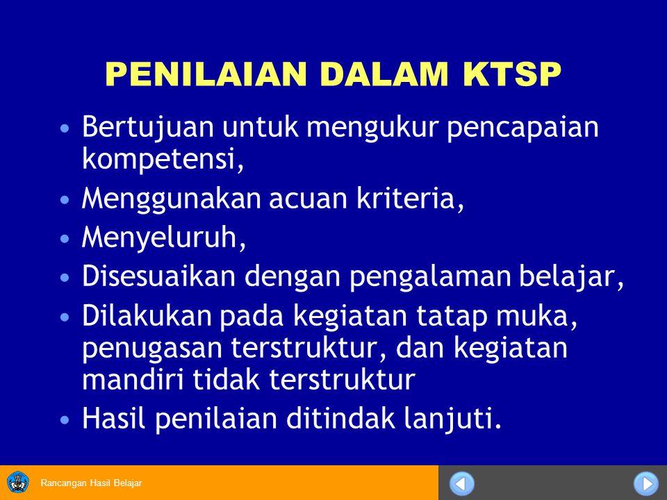 Rancangan Hasil Belajar Penilaian KTSP beracuan kriteria Hasil kinerja peserta didik dibandingkan dengan kriteria yang telah ditetapkan Peserta didik yang belum mencapai kriteria ketuntasan minimal suatu Kompetensi Dasar harus mengikuti program remedial