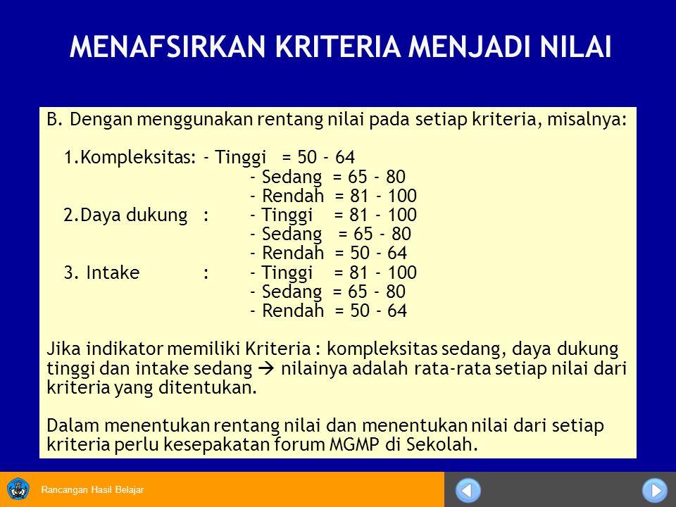 Rancangan Hasil Belajar B. Dengan menggunakan rentang nilai pada setiap kriteria, misalnya: 1.Kompleksitas:- Tinggi = 50 - 64 - Sedang = 65 - 80 - Ren
