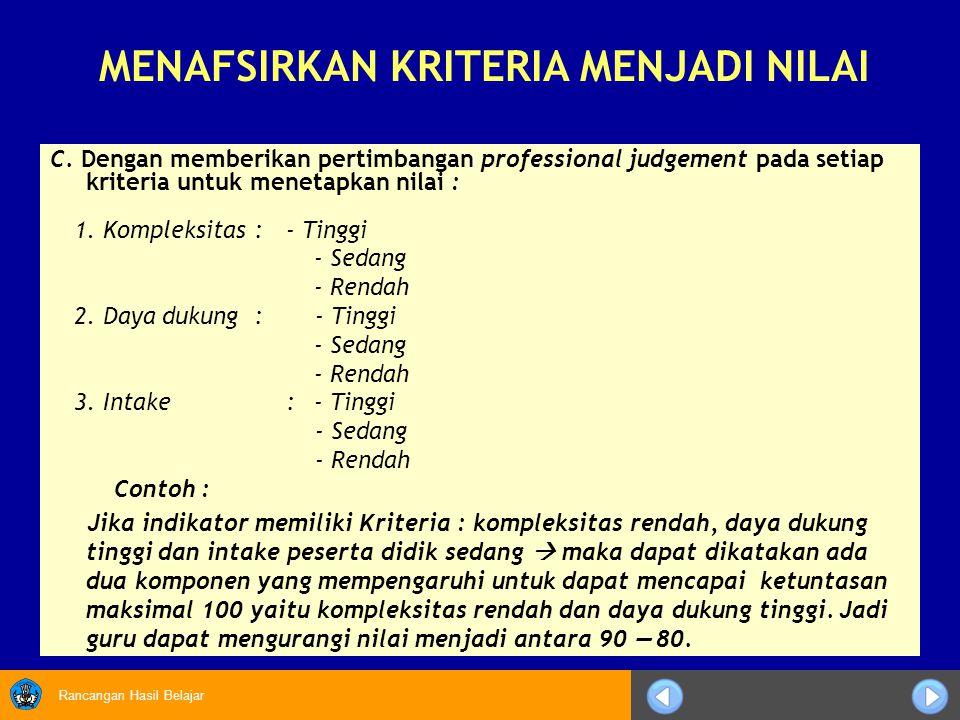 Rancangan Hasil Belajar C. Dengan memberikan pertimbangan professional judgement pada setiap kriteria untuk menetapkan nilai : 1. Kompleksitas:- Tingg