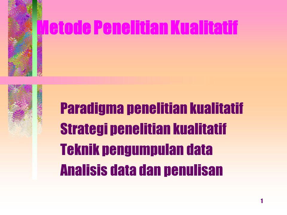 1 Metode Penelitian Kualitatif Paradigma penelitian kualitatif Strategi penelitian kualitatif Teknik pengumpulan data Analisis data dan penulisan