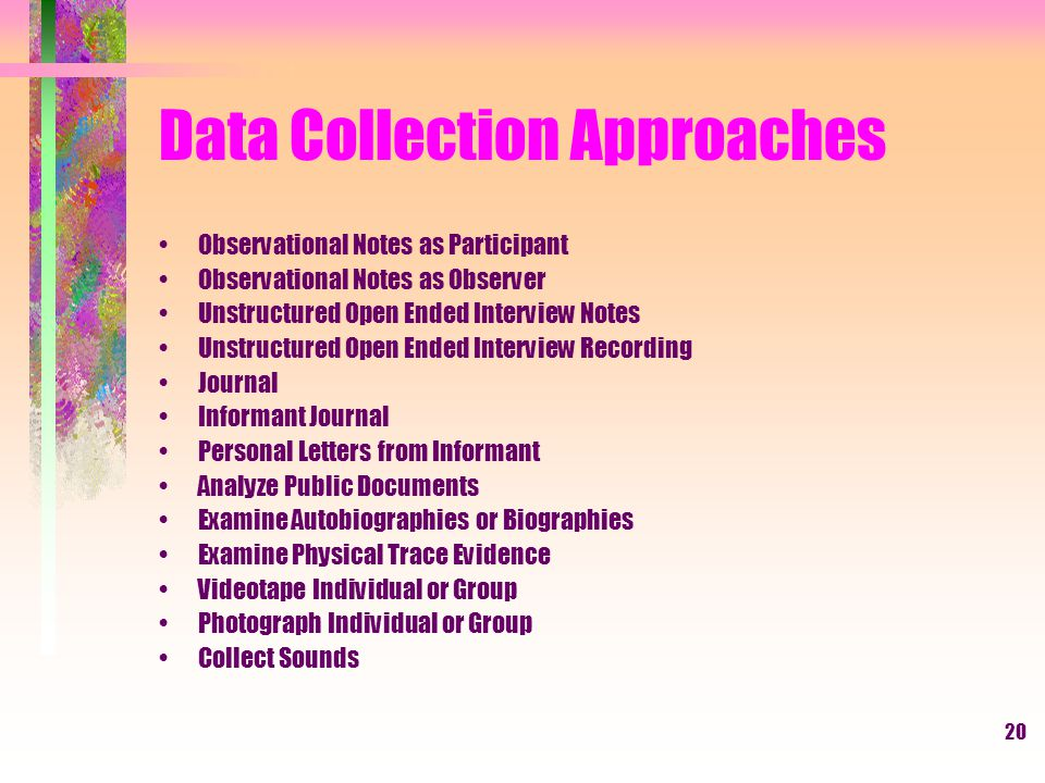 20 Data Collection Approaches Observational Notes as Participant Observational Notes as Observer Unstructured Open Ended Interview Notes Unstructured Open Ended Interview Recording Journal Informant Journal Personal Letters from Informant Analyze Public Documents Examine Autobiographies or Biographies Examine Physical Trace Evidence Videotape Individual or Group Photograph Individual or Group Collect Sounds