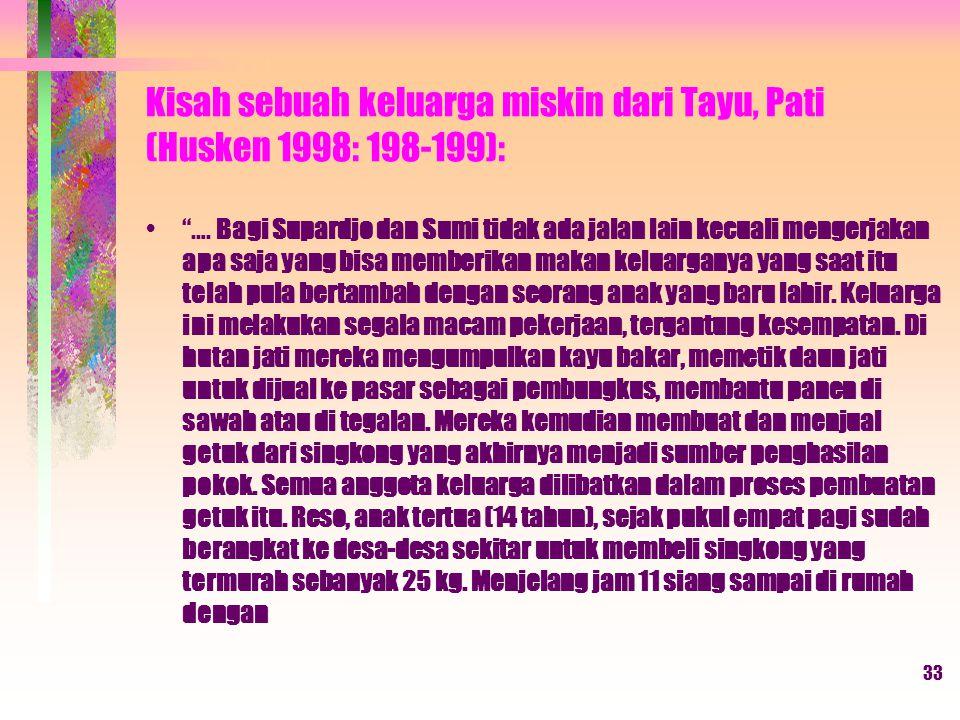 33 Kisah sebuah keluarga miskin dari Tayu, Pati (Husken 1998: 198-199): ….