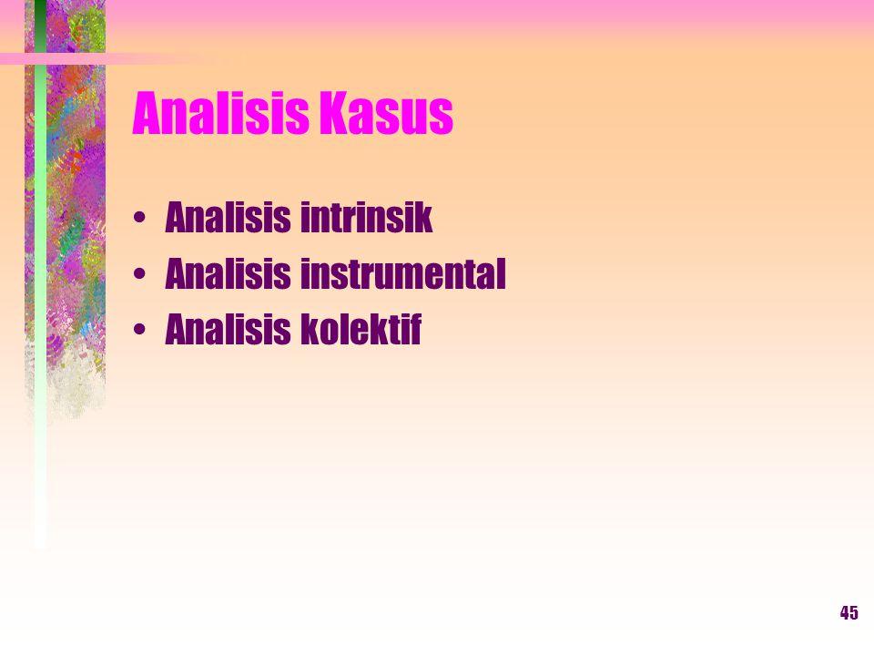 45 Analisis Kasus Analisis intrinsik Analisis instrumental Analisis kolektif