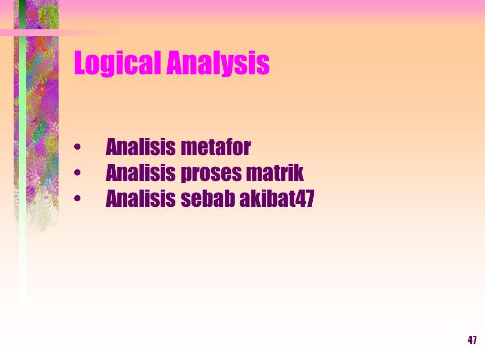 47 Logical Analysis Analisis metafor Analisis proses matrik Analisis sebab akibat47