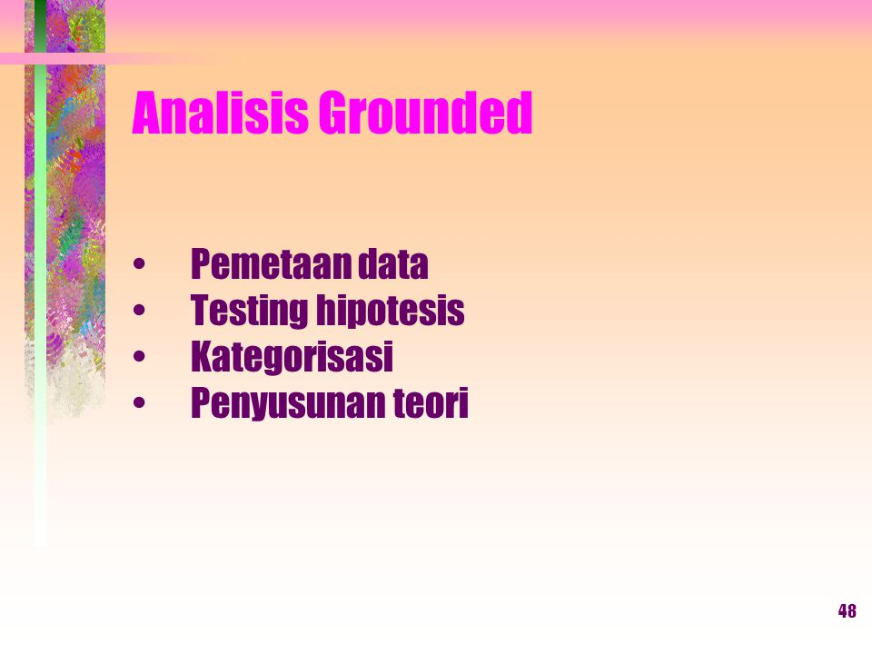 48 Analisis Grounded Pemetaan data Testing hipotesis Kategorisasi Penyusunan teori