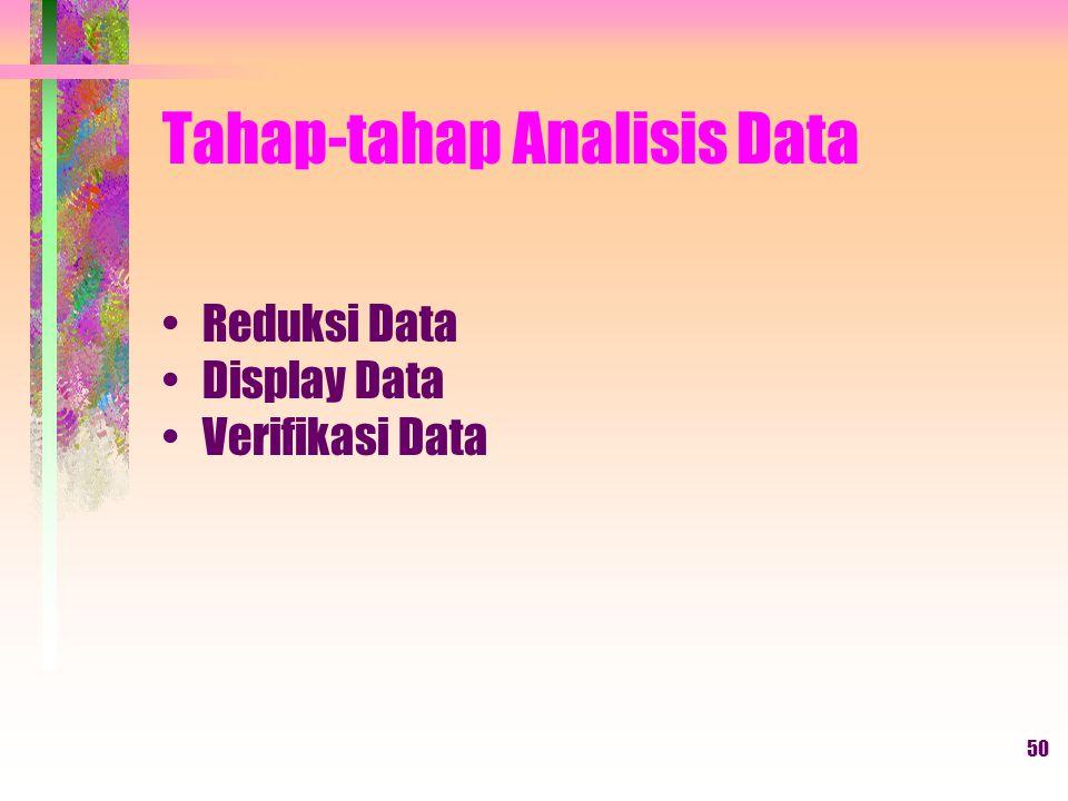 50 Tahap-tahap Analisis Data Reduksi Data Display Data Verifikasi Data
