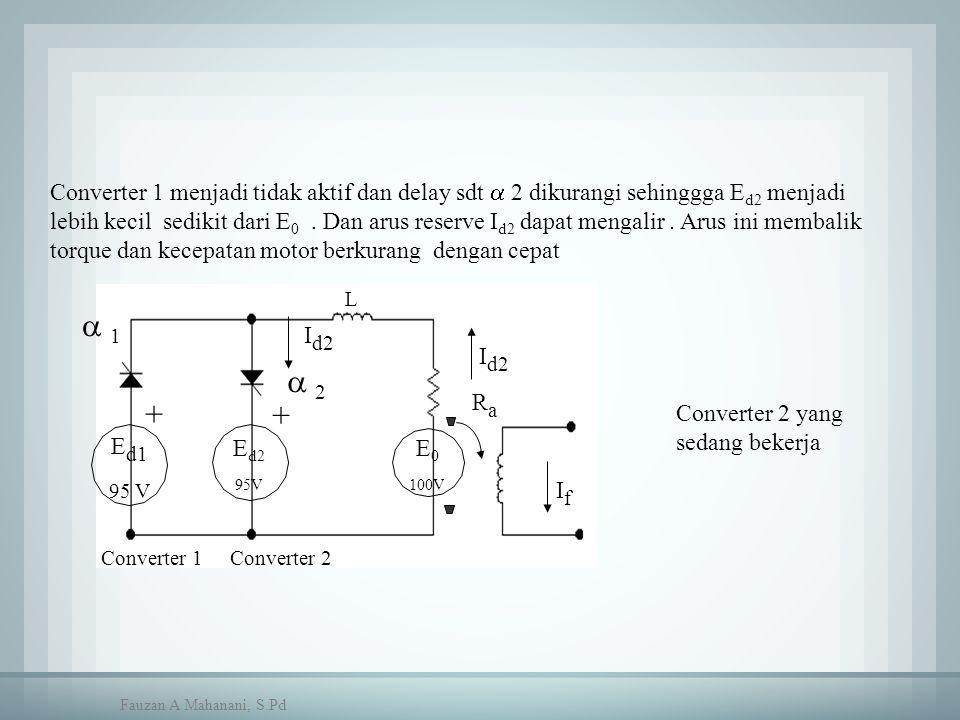 Converter 1 menjadi tidak aktif dan delay sdt  2 dikurangi sehinggga E d2 menjadi lebih kecil sedikit dari E 0. Dan arus reserve I d2 dapat mengalir.