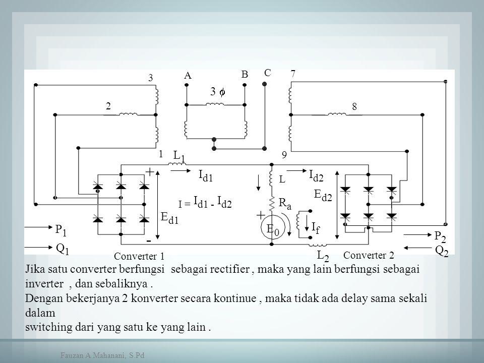 Jika satu converter berfungsi sebagai rectifier, maka yang lain berfungsi sebagai inverter, dan sebaliknya. Dengan bekerjanya 2 konverter secara konti