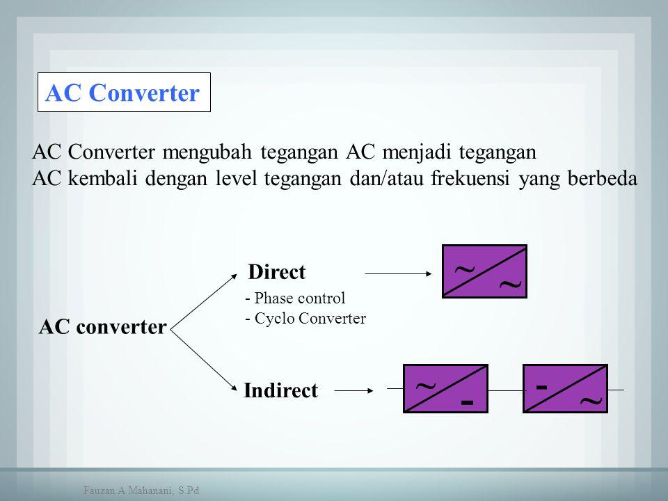 AC Converter AC Converter mengubah tegangan AC menjadi tegangan AC kembali dengan level tegangan dan/atau frekuensi yang berbeda AC converter Direct ~