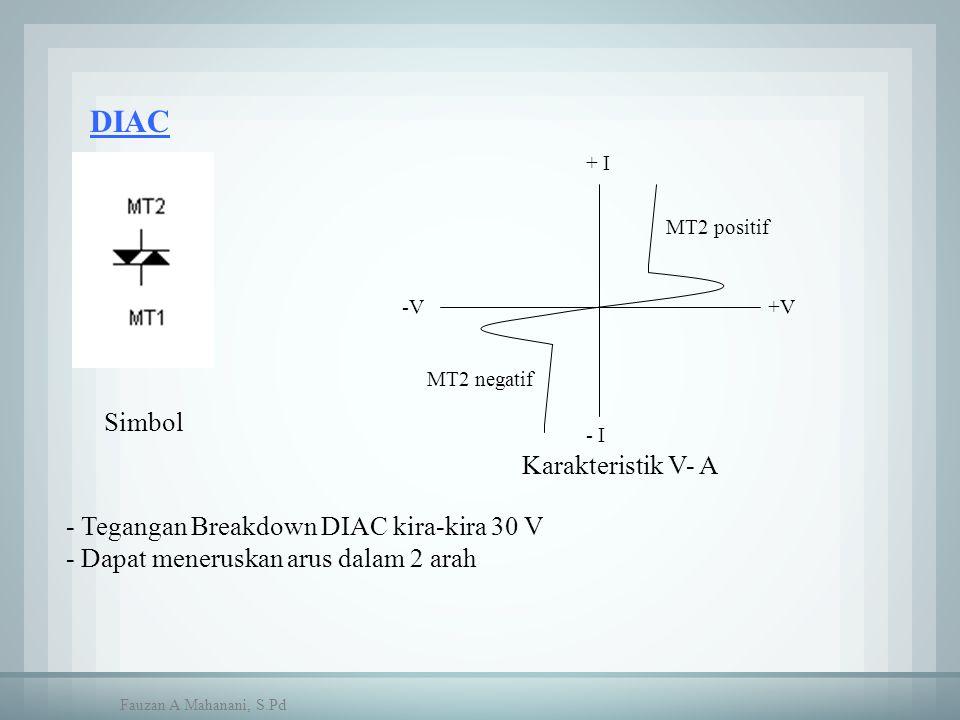 DIAC - Tegangan Breakdown DIAC kira-kira 30 V - Dapat meneruskan arus dalam 2 arah Simbol +V-V MT2 positif MT2 negatif Karakteristik V- A + I - I Fauz