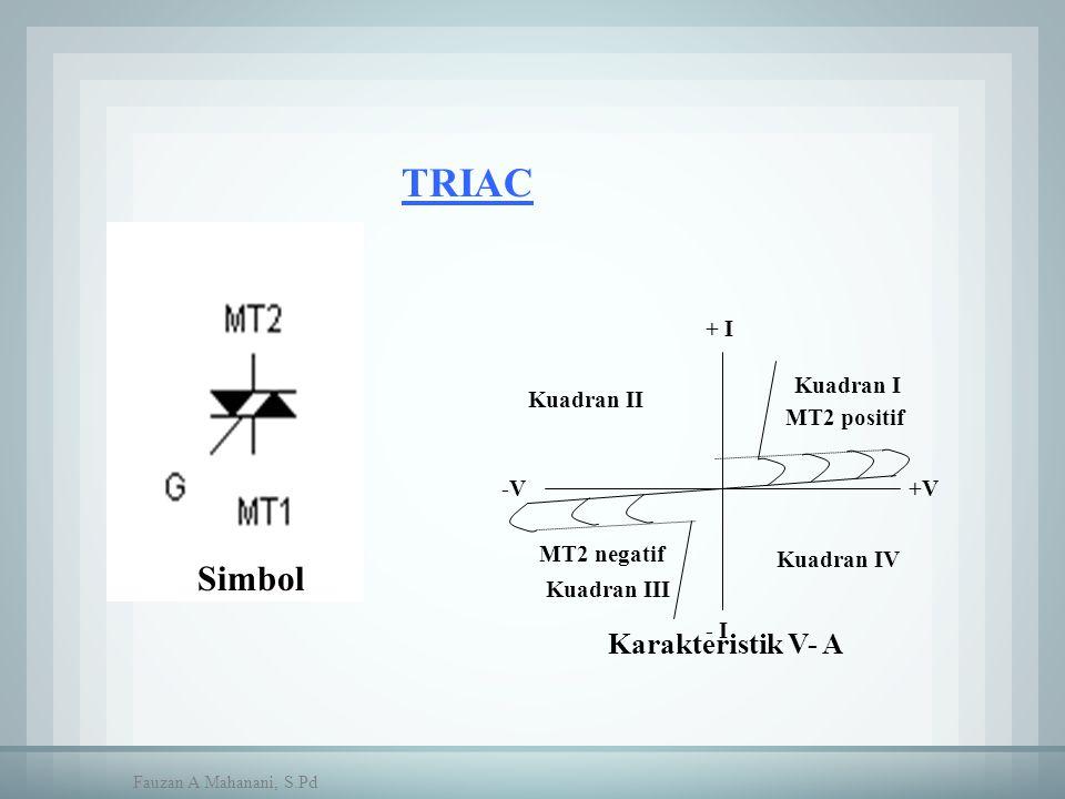 TRIAC +V-V + I - I MT2 positif MT2 negatif Kuadran I Kuadran II Kuadran IV Kuadran III Simbol Karakteristik V- A Fauzan A Mahanani, S.Pd