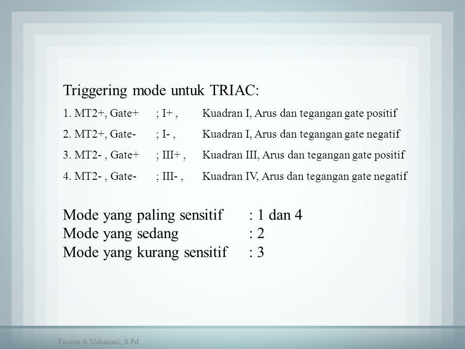 Triggering mode untuk TRIAC: 1. MT2+, Gate+ ; I+, Kuadran I, Arus dan tegangan gate positif 2. MT2+, Gate- ; I-,Kuadran I, Arus dan tegangan gate nega