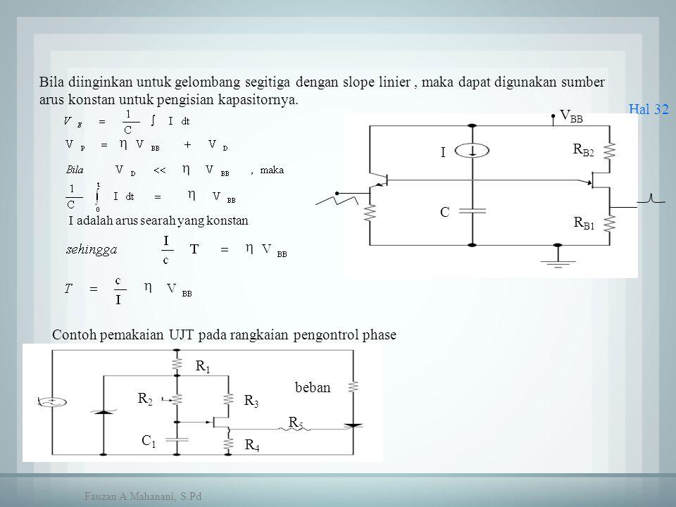 Hal 32 R B1 V BB R B2 I C R1R1 R2R2 R3R3 beban R5R5 R4R4 C1C1 Bila diinginkan untuk gelombang segitiga dengan slope linier, maka dapat digunakan sumbe