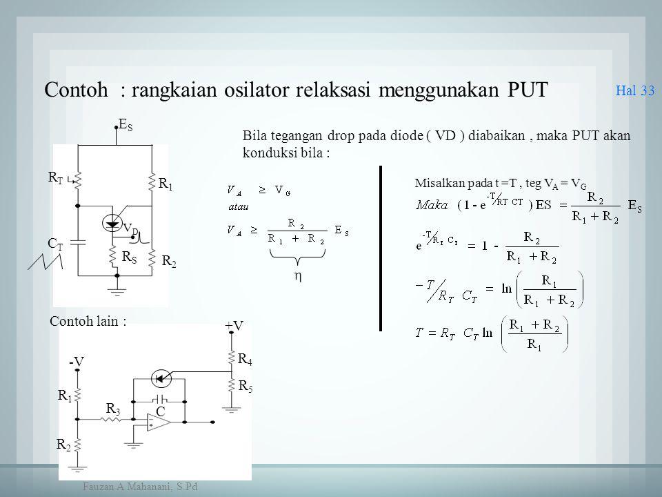 Hal 33 R1R1 C R2R2 R3R3 R4R4 R5R5 +V -V Contoh : rangkaian osilator relaksasi menggunakan PUT CTCT RTRT R1R1 R2R2 RSRS VDVD ESES Contoh lain : Bila te