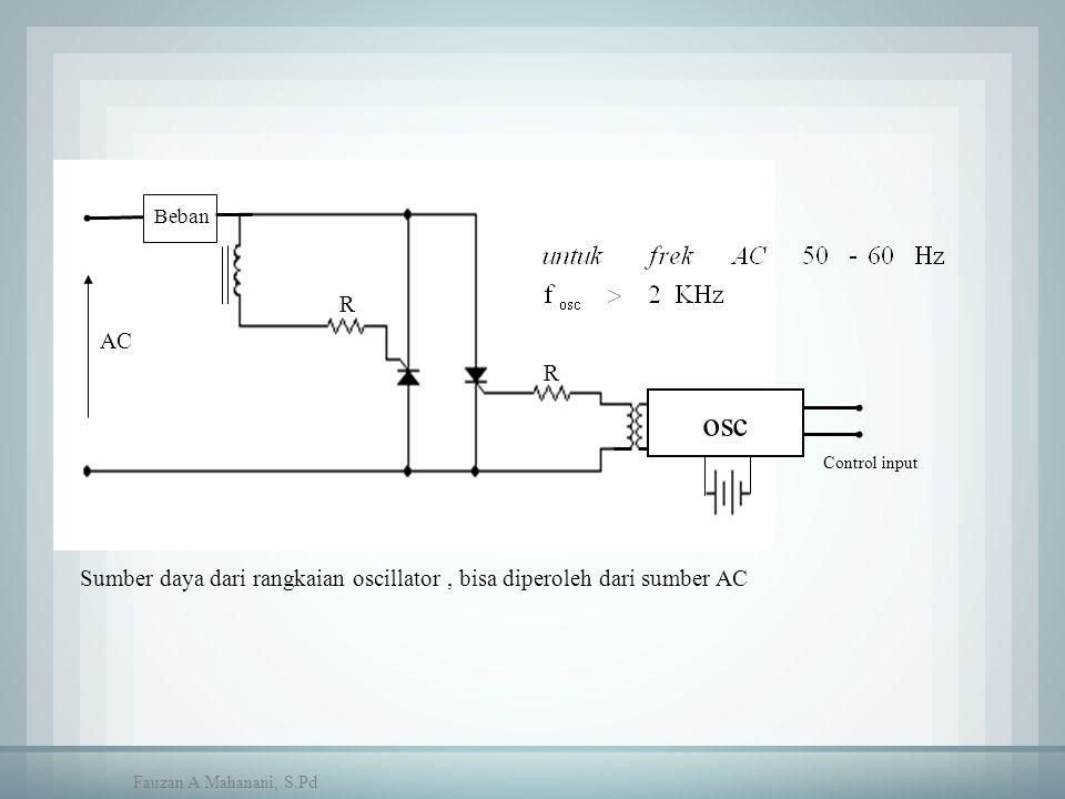 Beban AC R R osc Control input Sumber daya dari rangkaian oscillator, bisa diperoleh dari sumber AC Fauzan A Mahanani, S.Pd
