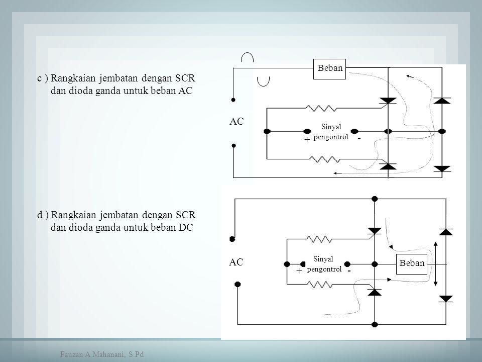 c ) Rangkaian jembatan dengan SCR dan dioda ganda untuk beban AC Beban AC Sinyal pengontrol + - Beban Sinyal pengontrol AC + - d ) Rangkaian jembatan