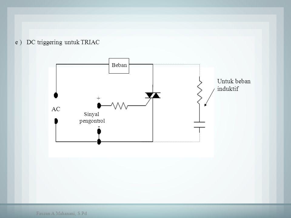 e ) DC triggering untuk TRIAC Beban Sinyal pengontrol + - AC Untuk beban induktif Fauzan A Mahanani, S.Pd