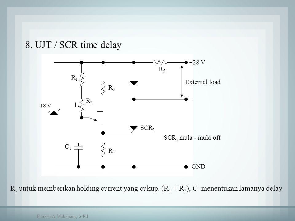 SCR 1 C1C1 R4R4 R1R1 R3R3 R5R5 28 V GND R2R2 External load + - 18 V SCR 1 mula - mula off 8. UJT / SCR time delay R s untuk memberikan holding current