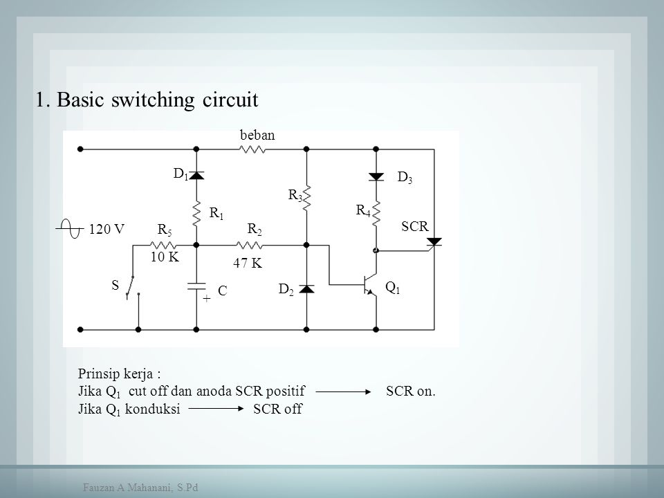 beban C D1D1 R1R1 R2R2 R5R5 R3R3 R4R4 D3D3 S 10 K 47 K D2D2 SCR 120 V + Q1Q1 1. Basic switching circuit Prinsip kerja : Jika Q 1 cut off dan anoda SCR