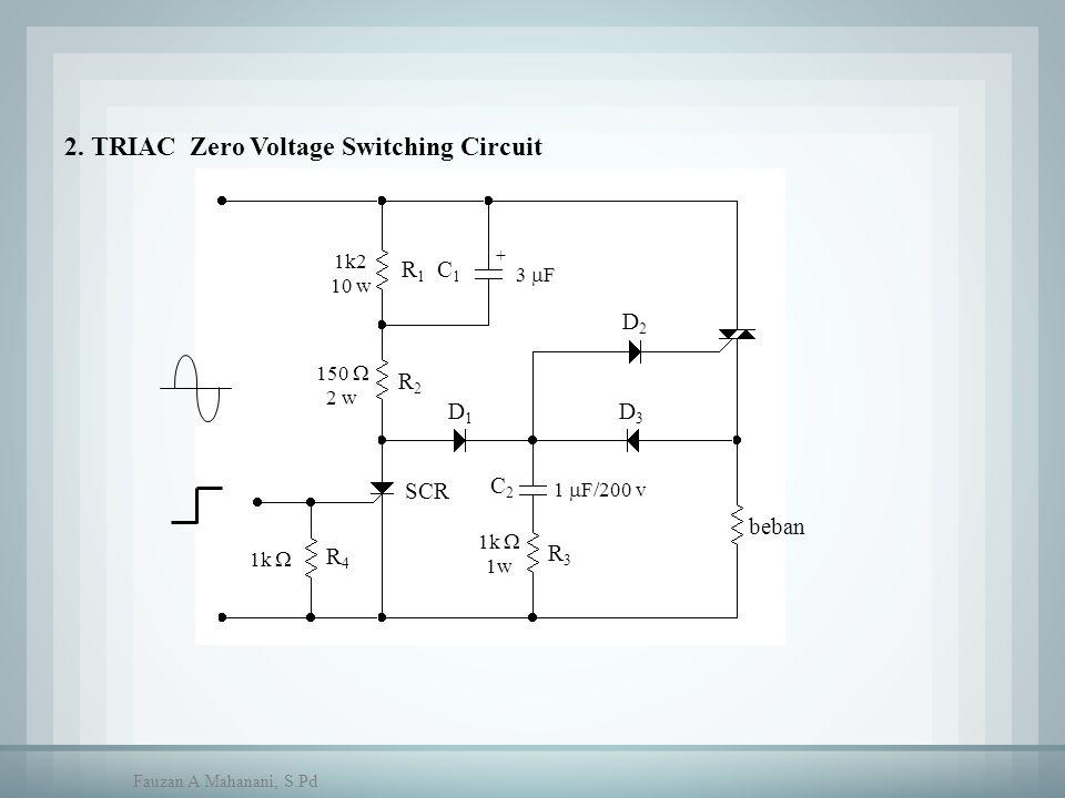 R1R1 R2R2 R4R4 beban D1D1 D2D2 D3D3 C1C1 C2C2 R3R3 SCR 1k2 10 w 150  2 w 1k  1w 1k  + 3  F 1  F/200 v 2. TRIAC Zero Voltage Switching Circuit Fau