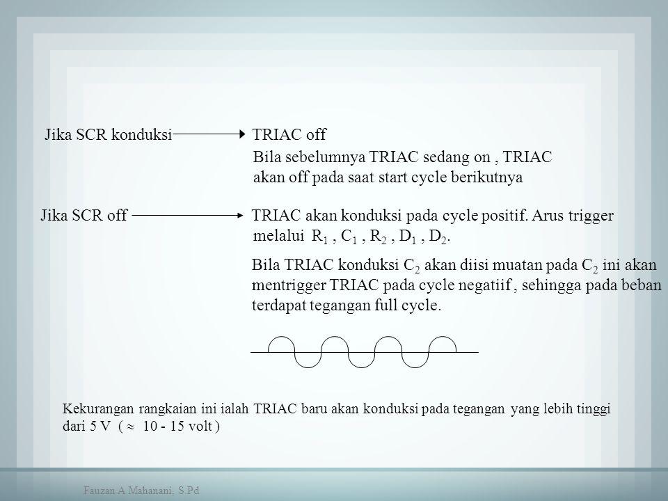 Jika SCR konduksi TRIAC off Bila sebelumnya TRIAC sedang on, TRIAC akan off pada saat start cycle berikutnya Jika SCR off TRIAC akan konduksi pada cyc