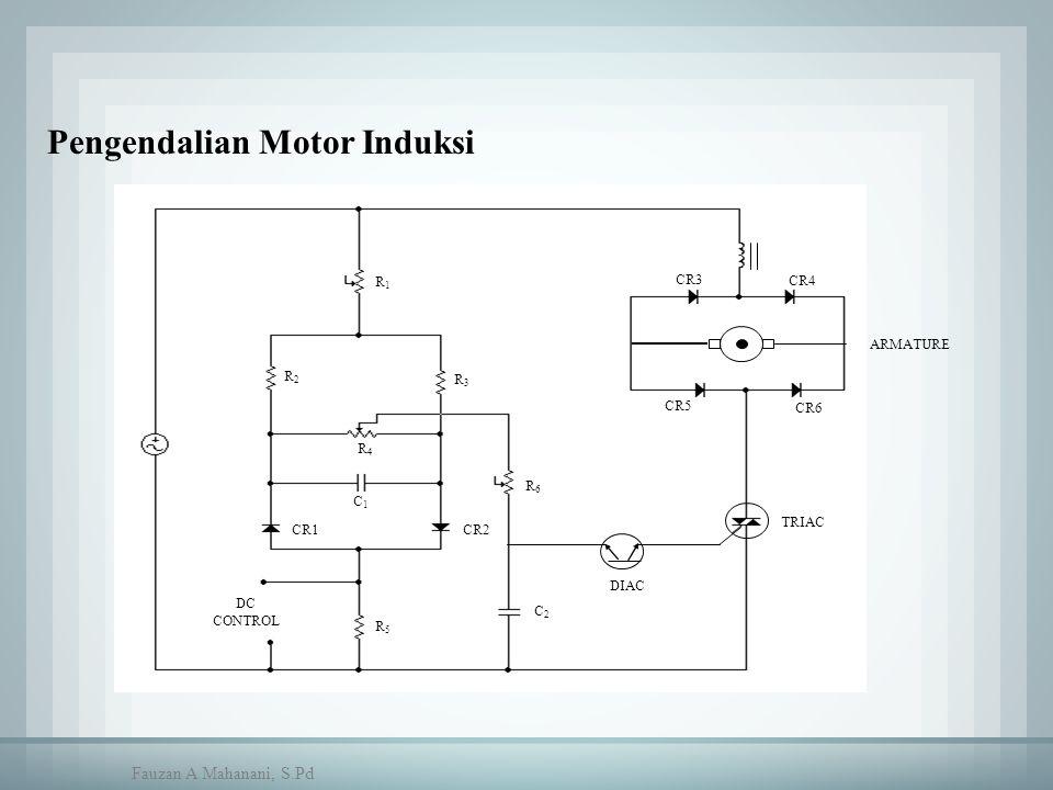 CR4 CR3 CR6 CR5 DC CONTROL TRIAC DIAC R5R5 R1R1 R3R3 R2R2 R6R6 C1C1 R4R4 CR2CR1 C2C2 ARMATURE Pengendalian Motor Induksi Fauzan A Mahanani, S.Pd
