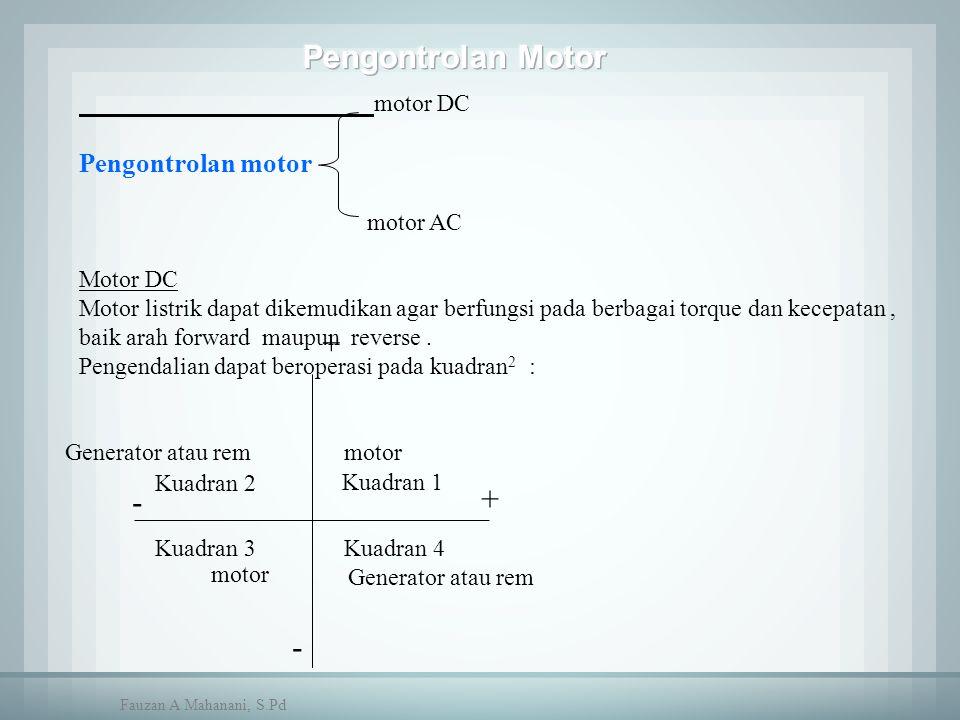 - Kuadran 1 Kuadran 2 Kuadran 3Kuadran 4 - + + Generator atau rem motor motor DC Pengontrolan motor motor AC Motor DC Motor listrik dapat dikemudikan