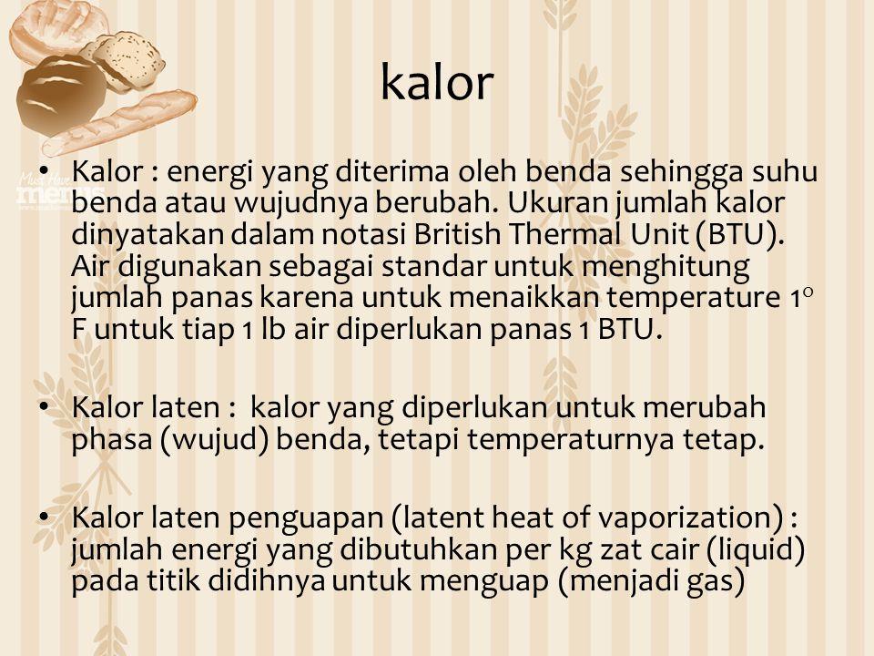 kalor Kalor : energi yang diterima oleh benda sehingga suhu benda atau wujudnya berubah. Ukuran jumlah kalor dinyatakan dalam notasi British Thermal U